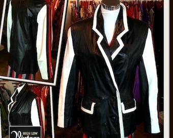 Vintage Black White Red Leather Jacket Blazer