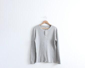 Basic Grey 90s Thermal Henley Shirt