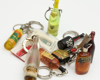 French Vintage Advertising Key Chains - Liquor / Aperitif Bottles - Set of 5 - 2 options