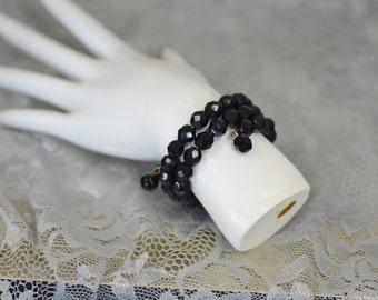black faceted bead twist bracelet