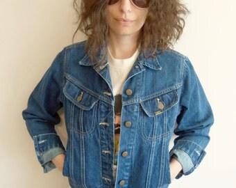 Vintage Lee Rocker Hipster Western Trucker Denim Jean Jacket