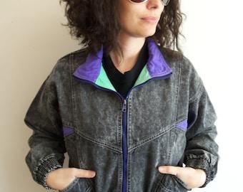 Vintage 90s Levis Distressed Black and Neon Denim Jean Jacket