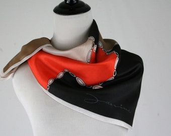 1970s Janine Color Blocked Acetate Square Scarf