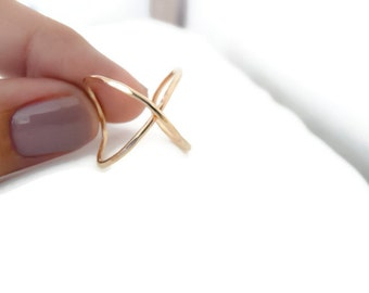 Gold Filled Ring Gold Criss Cross Ring Infinity Ring Modern Minimalist Jewelry For Her Under 25