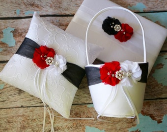 Your Color ,Red and Black Flower Girl Basket Wedding Pillow , Ring Bearer Pillow , Guest Book ,  Flower Girl Basket and Ring Pillow Set