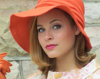 1950s 1960s Peck & Peck Bright Orange Floppy Wide-Brimmed Hat