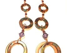 flame colored copper triplequad hoops