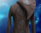 Portal Mandala Hoodie, Size S, Brown, with black and brown circle detail. Warm, zip up style for festival, psy, and everyday wear