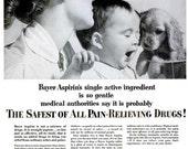 1953 Baby Bayer Aspirin Advertisement Pharmacy Drug Store Nostalgia Puppy Print Retro Black & White Typography Wall Art Mother Nursery Decor