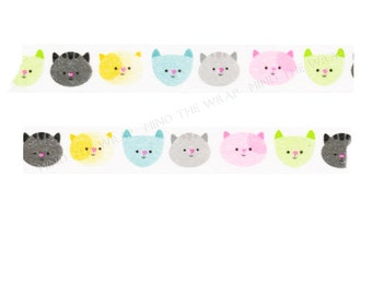 "Doodlebug ""Here Kitty Kitty"" Washi Tape - Fanciful Felines - Kitten Smitten Collection - Pastel Colors Cats"