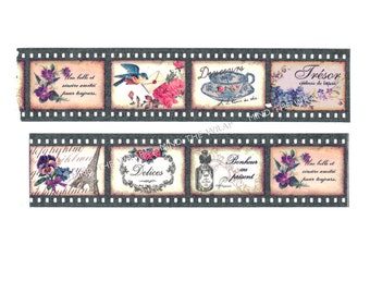 """NEW """"Sepia Negative"""" Wide Washi Tape - Vintage French Images in Retro Film Frames - 30mm x 7m"""