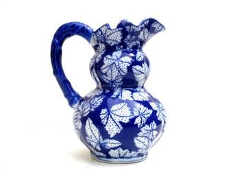 Blue And White Porcelain Pitcher , Cobalt Blue , Hand Painted Jug , Flower Arranging,