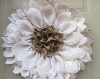 Sunflower Wreath - White Burlap Sunflower Wreath