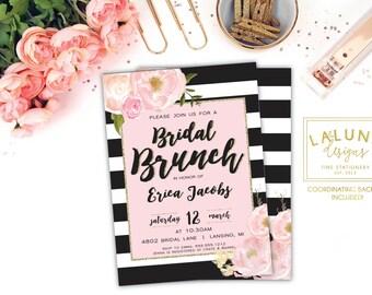Bridal Shower Invitation, Bridal Brunch Invitation, Bridal Shower Brunch, Brunch Invites, Black White Stripe, Pink and Gold