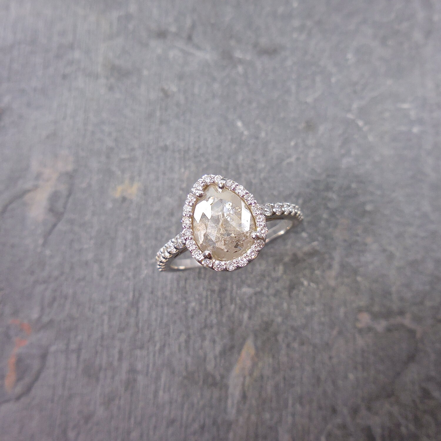 Gray Diamond Engagement Ring Pear Engagement Ring Made To