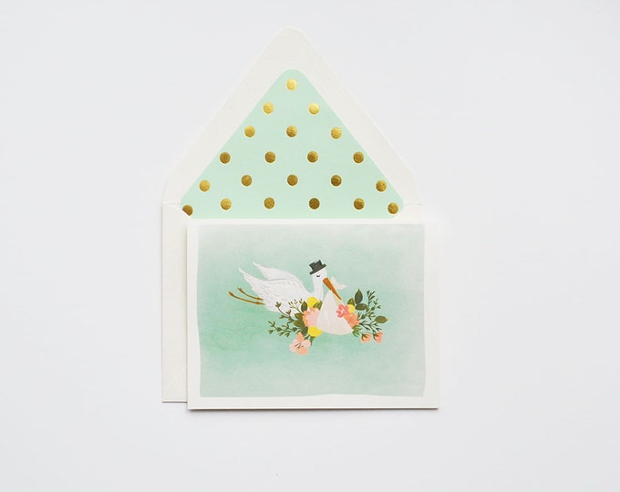 Baby Stork Illustration Card in mint