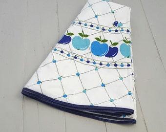 Blue Apples Tablecloth Circular 1960's