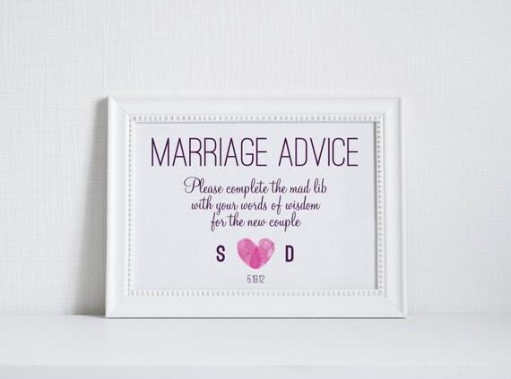 Modern Marriage Advice Sign 5x7 DIY Wedding Sign
