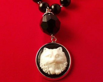 Cat Cameo Necklace - Victorian Style Cameo Necklace