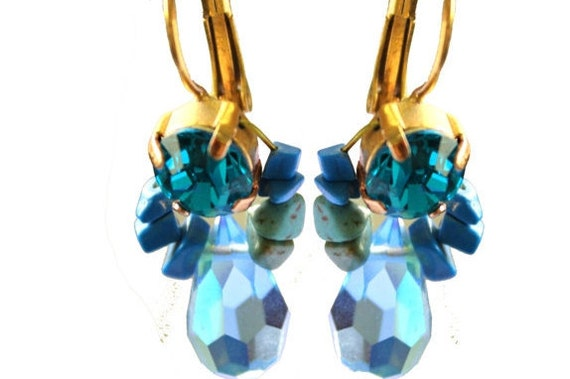 Amazing Turquoise And Crystal Post Earrings - Impressive Swarovski Crystals - Turquoise Stones - Cocktail Jewelry