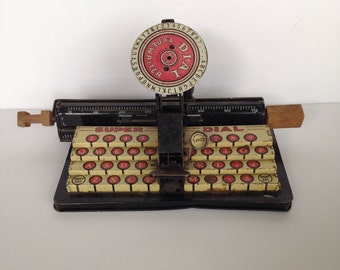 Vintage Tin Toy Type Writer / Antique Play Metal Type Writer