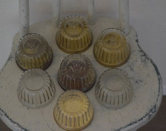 Set of 7 Vintage Jam or Jelly Jars by Kerr with Crown and Angel Logo / 5 Metal Lids