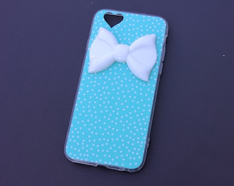 iPhone 6 Teal Polka Dot Bow Case