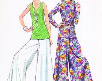 70s DISCO Simplicity 5690 Bell Bottom Palazzo Pants Glam Rock Elephant Pants n Tunic Over Blouse Day or Evening B 38 Vintage Sewing Pattern