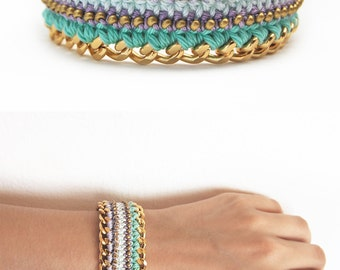 Lilac and mint bracelet with rhinestones, boho bracelet, crochet bracelet with chunky chain and beads, statement bracelet