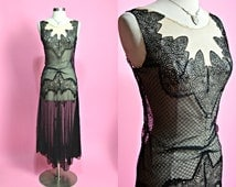 Jaw Dropping 1920's 1930's Vintage Black and Nude Delicate Lace Sheer Hi Low Hem Flapper Dress Roaring 20's Art Deco Art Nouveau Small