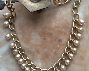 Vintage Antique Inspired Matte Gold Tone Faux Pearl Drop Collar Length Necklace With Pendant One Of A Kind