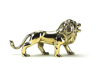 Vintage Brass Lion Figurine - African Safari Gold Animals - Children Nursery Decor - Hollywood Regency Mid Century - Man Cave - Wizard of Oz