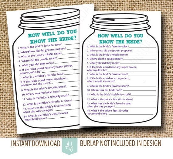 Mason Jar Bridal Shower Game-- How Well Do You Know The