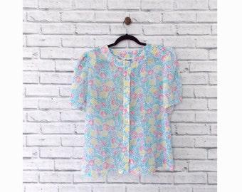 PASTEL TULIPS - Vintage Pastel Floral Blouse Size Large | Easter Blouse | Soft Pastel Blouse | Tulip Blouse