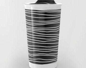 Black Travel Mug - Black and White Stripes - Coffee Travel Mug - Hot or Cold Travel Mug - 12oz Travel Mug - Made to Order