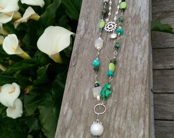 Necklace Long Green White Black Gems Gift