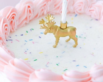 Gold Safari Animal Birthday Candle Holder- You CHOOSE moose, elephant, lion, etc.