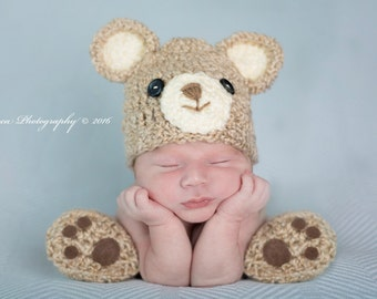 Baby Boy Hat CUTE BEAR Newborn Baby Boy or girl Crochet Teddy BEAR Hat and Booties Slippers paws pink or purple bows