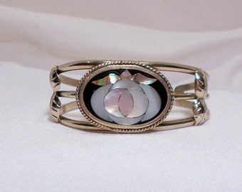 Lovely Mother of Pearl Silver Cuff Bracelet - Vintage