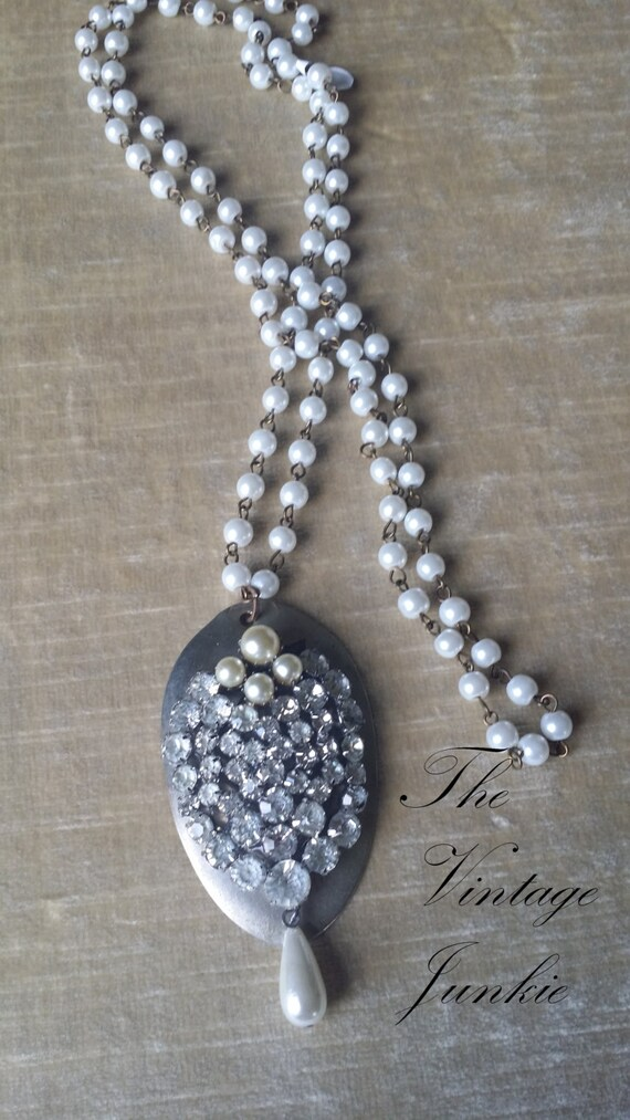 The Vintage Junkie...Long Layering Silver Spoon and Vintage Glass Pearl Necklace with Antique Rhinestone Brooch