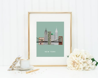 New York City Print, New York Wall Art, NYC Skyline Print, Travel Poster, New York Decor, New York Print, Gifts For Him, INSTANT DOWNLOAD