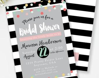 bridal shower invitation kate spade inspired bridal shower black and