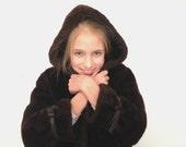 Soviet vintage children fur coat Dark brown children coat Faux fur Coat Winter coat for toddler girl boy USSR era children clothes 80s