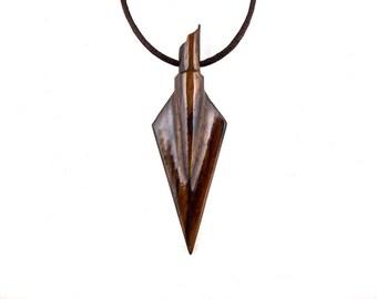 Arrowhead Necklace, Arrowhead Pendant, Mens Arrowhead Necklace, Mens Tribal Necklace, Arrowhead Jewelry, Mens Wood Necklace, Mens Jewelry