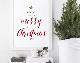 Merry Little Christmas Print, Christmas Tree Print, Holiday Decor, Typographic Art, Wall Quote, Christmas Song, Seasonal Art