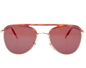 Best Company, cult 80s brand beautiful aviator havana & gold sunglasses made in Italy, NOS 1980s