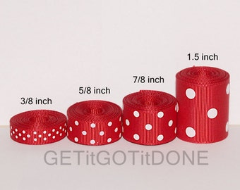Red Polka Dot Grosgrain Ribbon 5 Yards (You choose the width: 3/8, 5/8, 7/8, or 1.5 Inch)