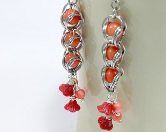Captivation Coral , Czech Glass and Stainless Steel Earrings Chainmail Jewelry