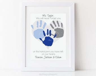 Daycare Gift, Nanny Gift, Teacher Gift, Babysitter Gift, Personalized Handprint Heart Art, Your Child's Hand Prints, 8x10 or 11x14 UNFRAMED