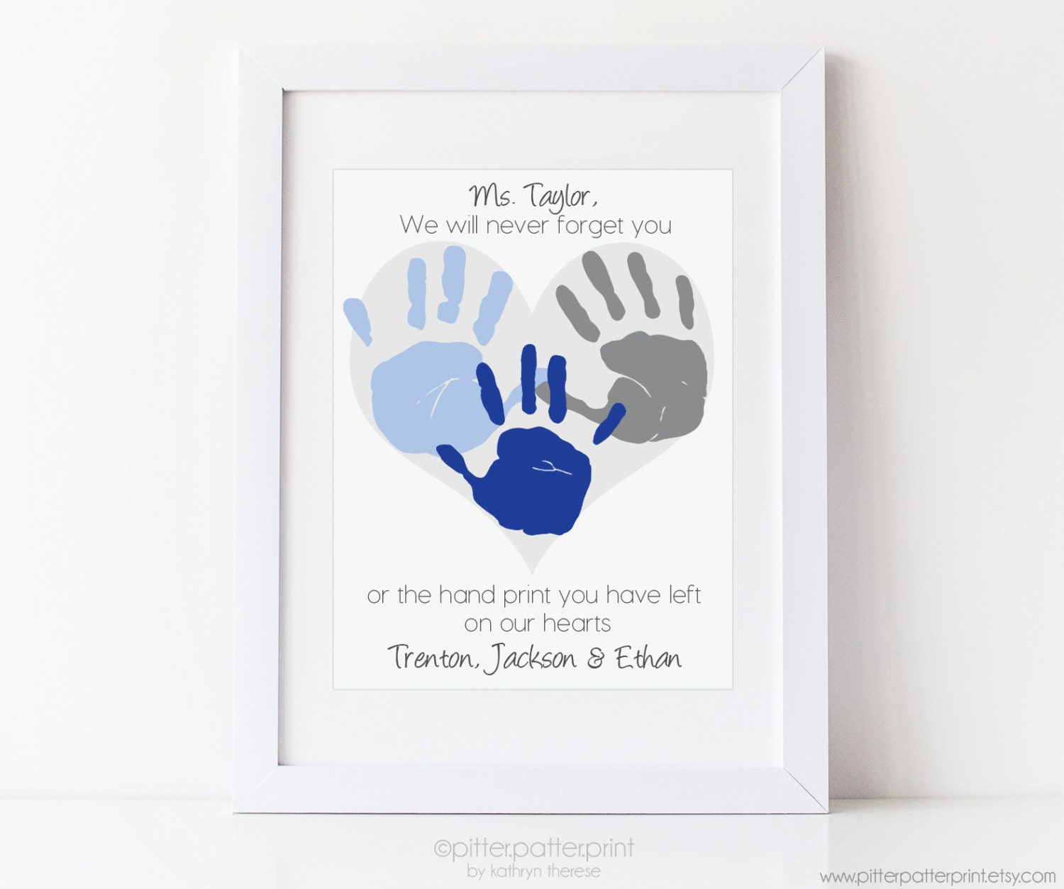 babysitter daycare gift nanny gift teacher gift babysitter gift personalized handprint heart art your child s hand prints 8x10 or 11x14 unframed